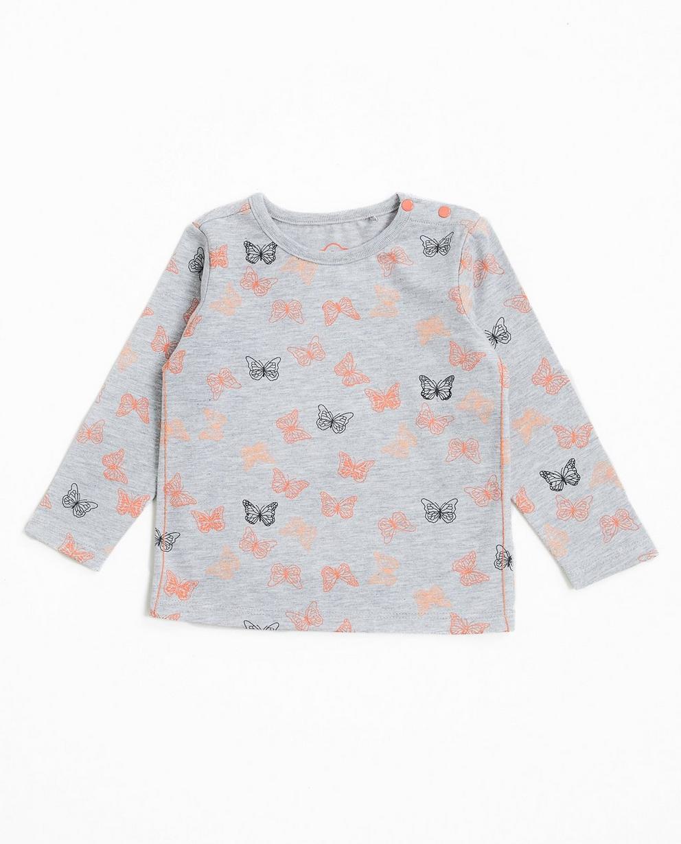 T-shirt à manches longues  - avec un imprimé, gris - JBC